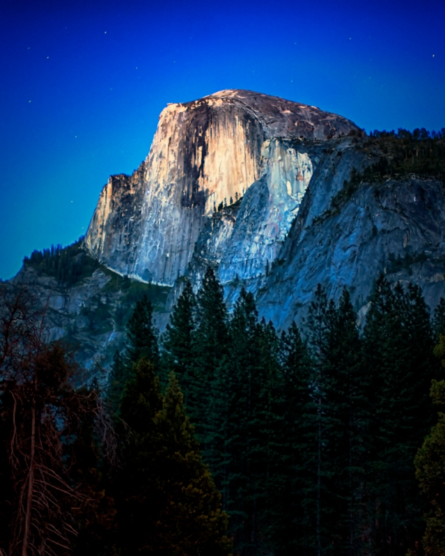 Half Dome at midnight. Taken by Christie Chaney.