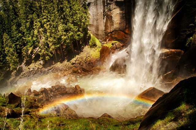 Rainbow at the base of Vernal Falls in Yosemite National Park. Taken by Christie Chaney.